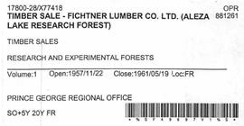 Timber Sale Licence - Fichtner Lumber Company Limited (X77418)