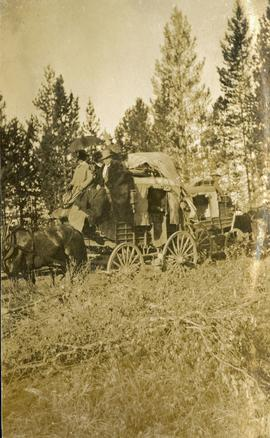 Stagecoaches crossing the Cariboo Road
