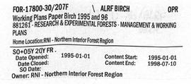Working Plans - Paper Birch 1995 and 1996