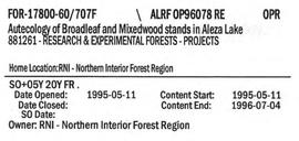 Autecology of Broadleaf and Mixedwood stands in Aleza Research Forest
