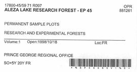 Aleza Lake Research Forest - Growth & Yield 59-71-R 97 - Experimental Plot 45