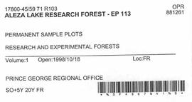 Aleza Lake Research Forest - Growth & Yield 59-71-R 103 - Experimental Plot 113