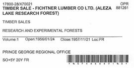 Timber Sale Licence - Fichtner Lumber Company Limited (X70021)