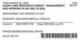 Aleza Lake Research Forest - Management and Working Plan - 1992-2002 - Volume 2