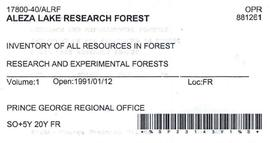 Inventory of all Resources in Forest - Aleza Lake Research Forest