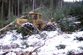 Rubber-tired skidder at CP 57, Lower Burnt, Dawson Creek Forest District