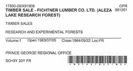 Timber Sale Licence - Fichtner Lumber Company Limited (X91908)