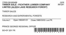Timber Sale Licence - Fichtner Lumber Company Limited (X92469)