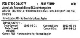 Aleza Lake Research Forest TSX Cut Stump Data