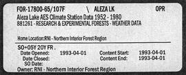 Aleza Lake AES Climate Station Data 1952-1980