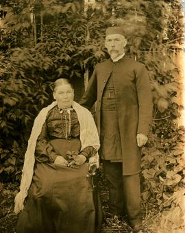 Outdoor portrait of Marion and W.H. Collison
