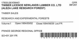 Timber Sale Licence - Newlands Lumber Company Limited (X58443)