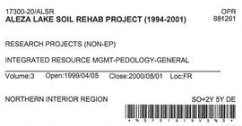 Aleza Lake Soil Rehab Project - Volume 3
