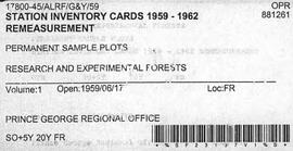 Station Inventory Cards 1959-1962