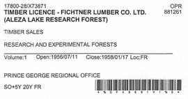 Timber Sale Licence - Fichtner Lumber Company Limited (X73671)