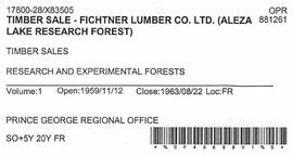 Timber Sale Licence - Fichtner Lumber Company Limited (X83505)