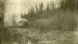 Grand Trunk Pacific track laying machine near John Brown Creek