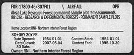 Aleza Lake Research Forest Permanent Sample Plot Remeasurements - Volume 1