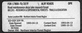Aleza Lake Research Forest Road Maintenance