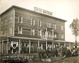 Cariboo stagecoaches in front of the Hotel Northern in South Fort George, BC