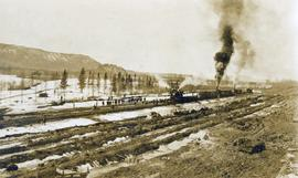 Track-layers at work on the Grand Trunk Pacific Railway