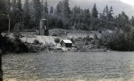 Alta Lake water tower and rail line at lake shore