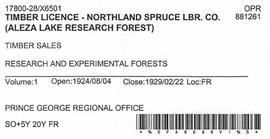 Timber Sale Licence - Northland Spruce Lumber Company (X6501)