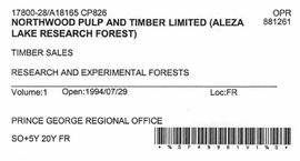 Timber Sale Licence - Northwood Pulp and Timber Limited (A18165 CP826)