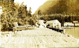 Drying nets on the racks at Nass Harbour Cannery