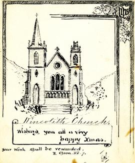 Greeting card - Illustration of new church building at Kincolith, BC