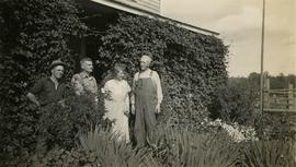 Jack Lee, Philip Monckton, Jessie McInnes, and Archie McInnes at Pioneer Ranch