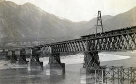 P.G.E. Railway Bridge under construction, Lillooet, BC