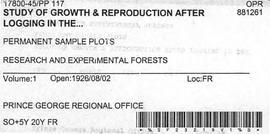 PP 117 - Study of Growth and Reproduction After Logging
