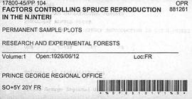 PP 104 - Factors Controlling Spruce Reproduction in the Northern Interior