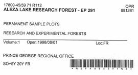 Aleza Lake Research Forest - Growth & Yield 59-71-R 97 - Experimental Plot 291