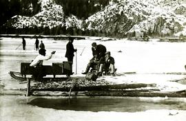 Herbert Collison ice fishing with friends at Fishing Bay, Nass River, BC
