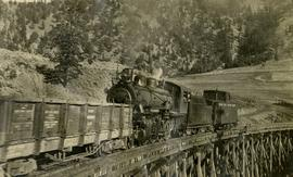 Pacific Great Eastern Railway train on Pavilion Creek trestle