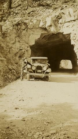 Jack Lee and 1930 Buick Series 40 car below Boston Bar tunnel