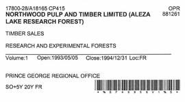 Timber Sale Licence - Northwood Pulp and Timber Limited (A18165 CP415)