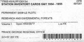 Station Inventory Cards 1954-1956