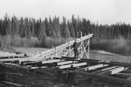 Log deck at sawmill