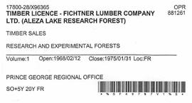 Timber Sale Licence - Fichtner Lumber Company Limited (X96365)