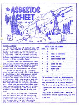 The Asbestos Sheet Sept. 1960