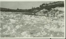 Ice jam upstream from Nechako River bridge