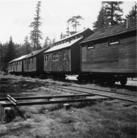 Wooden houses on tracks