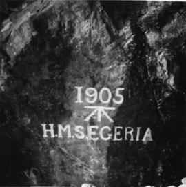 Inscription on rock about HMS Segeria