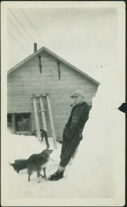 Man & Dog in Railway Camp
