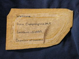 Fossil Redwood from Driftwood Canyon Park in sandstone with inscription