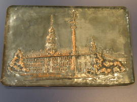 Embossed copper plate of the Royal Palace in Warsaw and Sigismund's Tower
