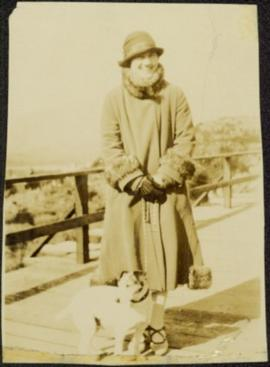 Sarah Glassey and Dog on Bridge